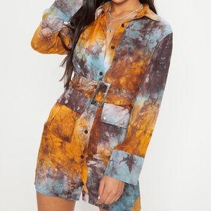 PLT Acid Wash Belted Shirt Dress